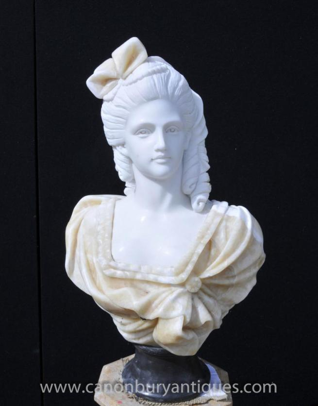 Hand Carved Victorian Maiden Bust Female Statue Art