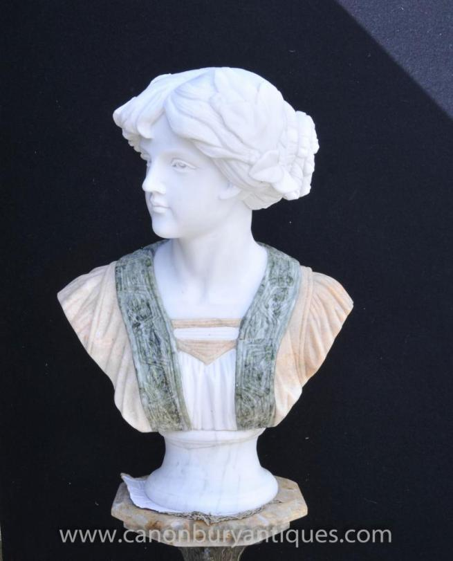 Hand Carved Victorian Marble Bust Pre-Raphaelite Lady