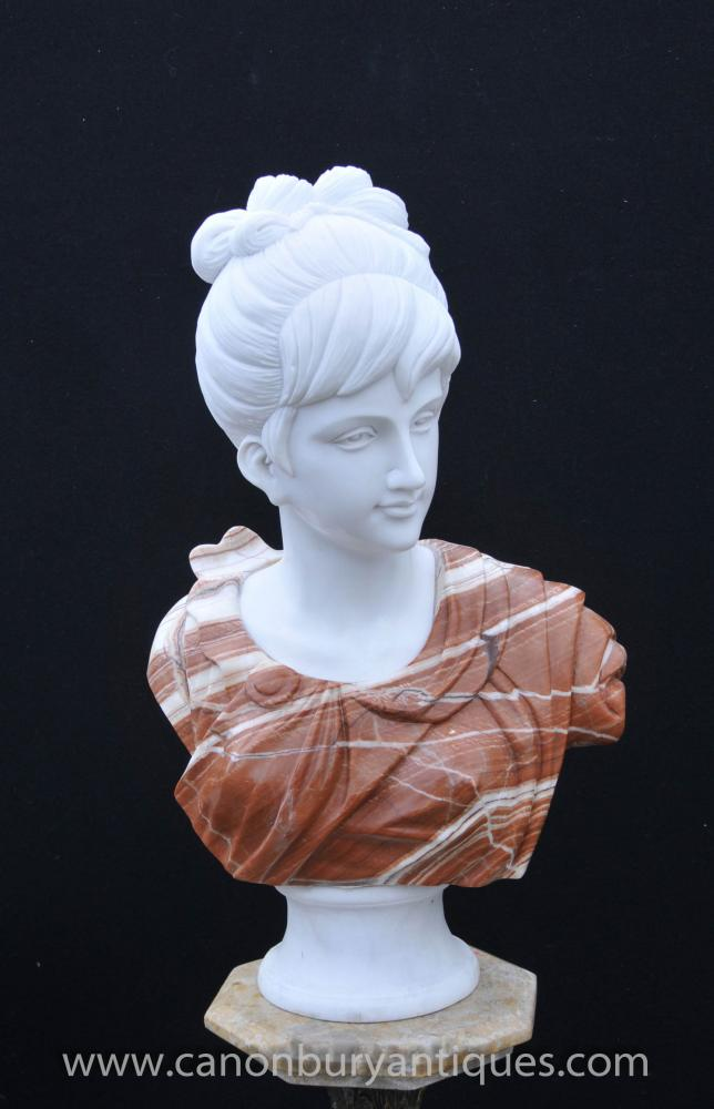 Italian Marble Bust Georgian Lady Female Hand Carved Statue