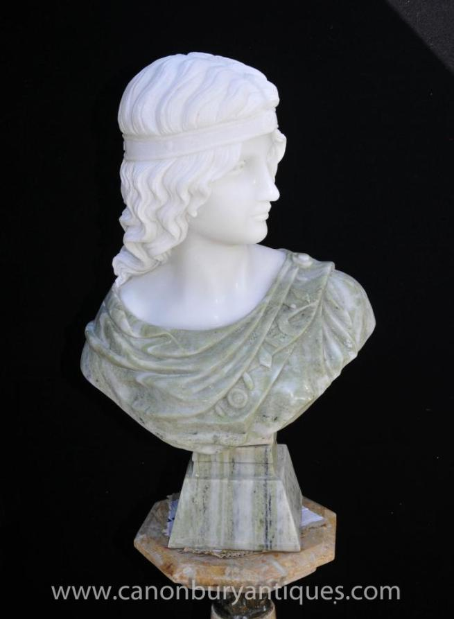 Italian Marble Bust Greek Goddess Athena Stone Carved Statue