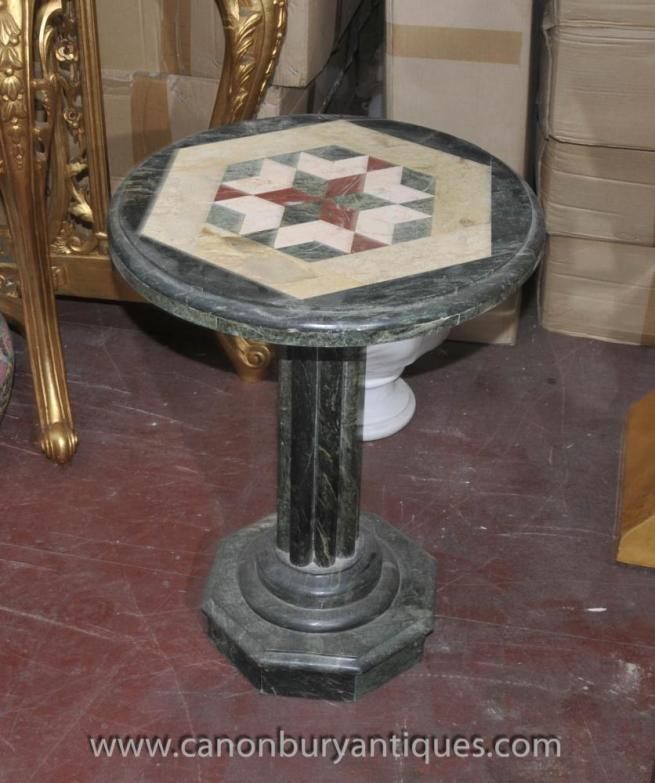 Italian Tuscan Marble Round Side Table Inlay Cocktail Tables