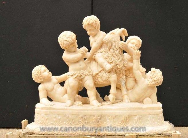 Large Italian Marble Cherub & Ram Classical Antiquity Statue Carved Sculpture