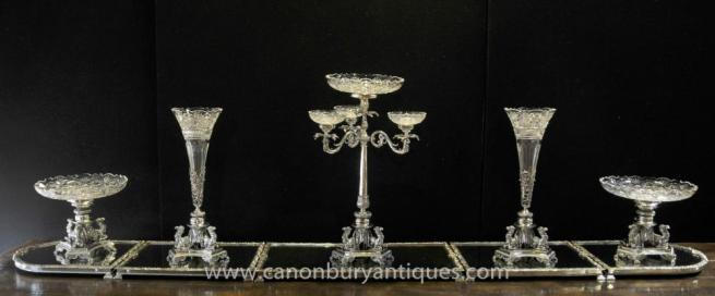 Large Victorian Silver Plate Centrepiece Epergne Cut Glas Vase Dish Bowl Dining Set
