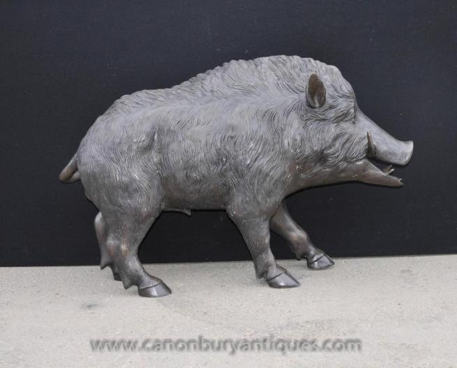 Lifesize Bronze Hog Sculpture Celtic Boar Pig Statue