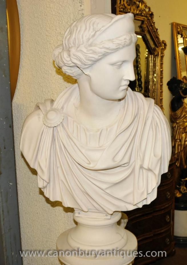 Marble Resin Bust Athena Greek Goddess Statue