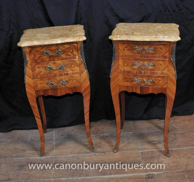 Pair Antique Empire Nightstands Bedside Chests Drawers Tables