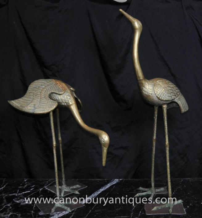 Pair Bronze Art Nouveau Japanese Cranes French Ormolu Birds Stork