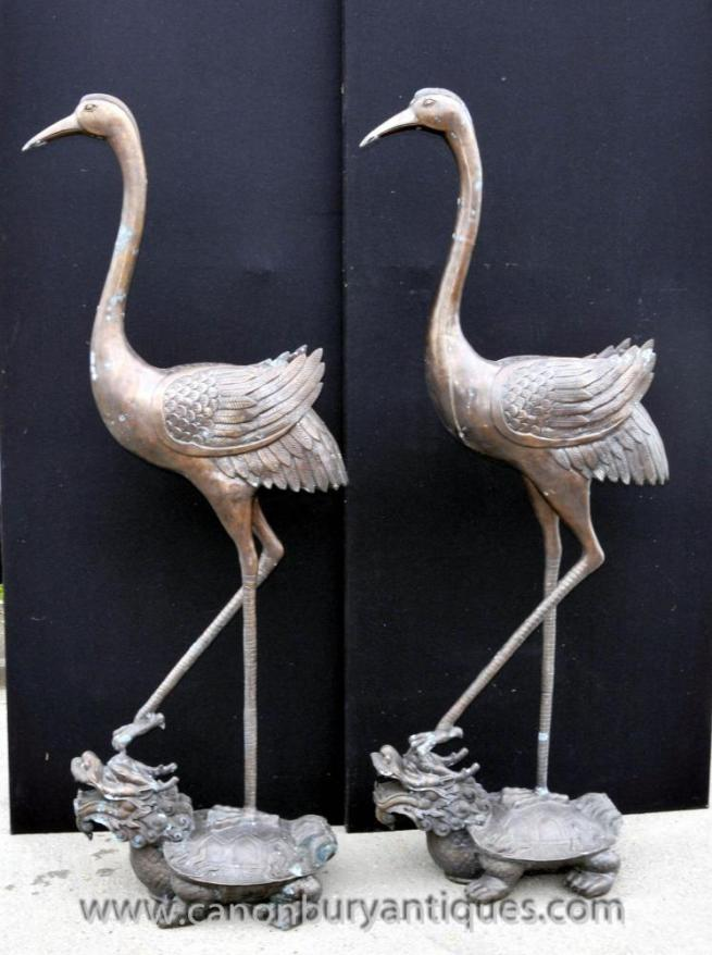 Pair Chinese Bronze Cranes Birds Stork Turtle Dragon Statue Casting