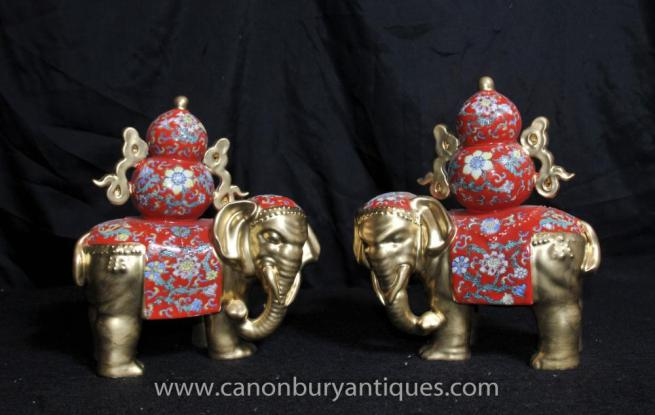 Pair Chinese Porcelain Famille Rose Elephants Elephant Statue