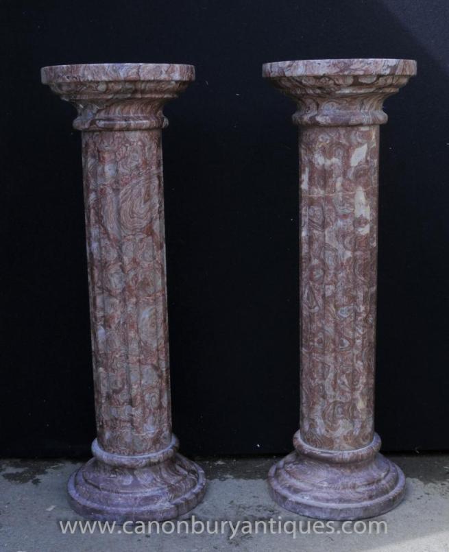 Pair Classic Italian Marble Doric Column Stands Pedestal Columns