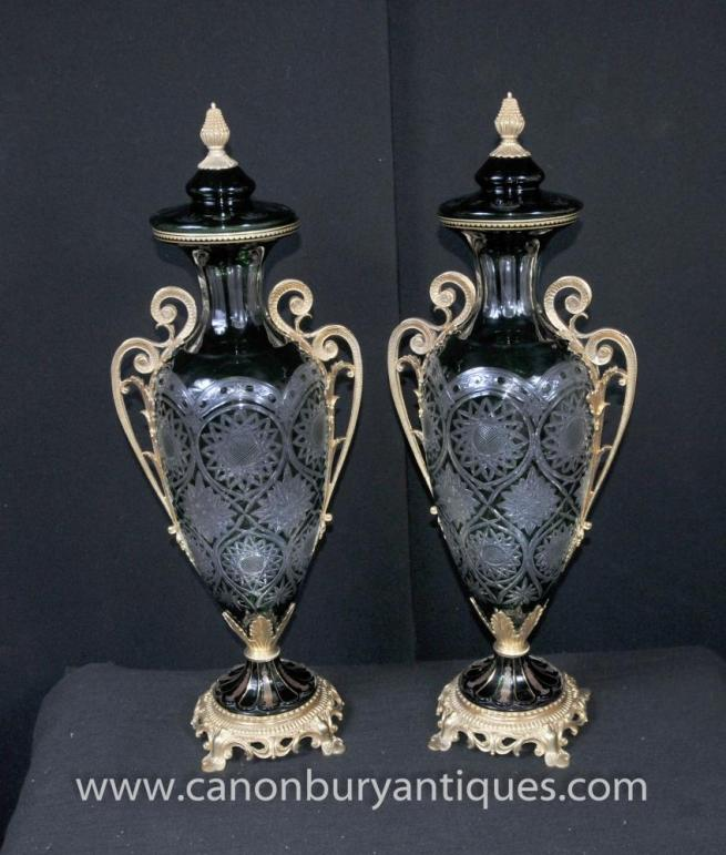 Pair Cut Glass Urns Louis XV Ormolu Amphora Urn