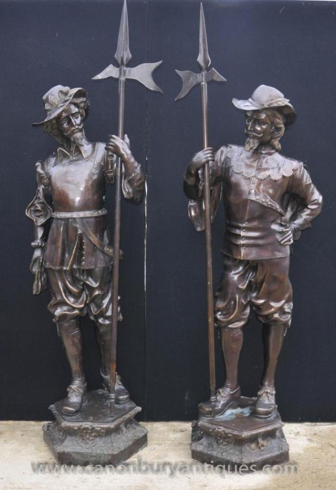 Pair English Bronze Lifesize Cavaliers Prince Charles I Soldiers