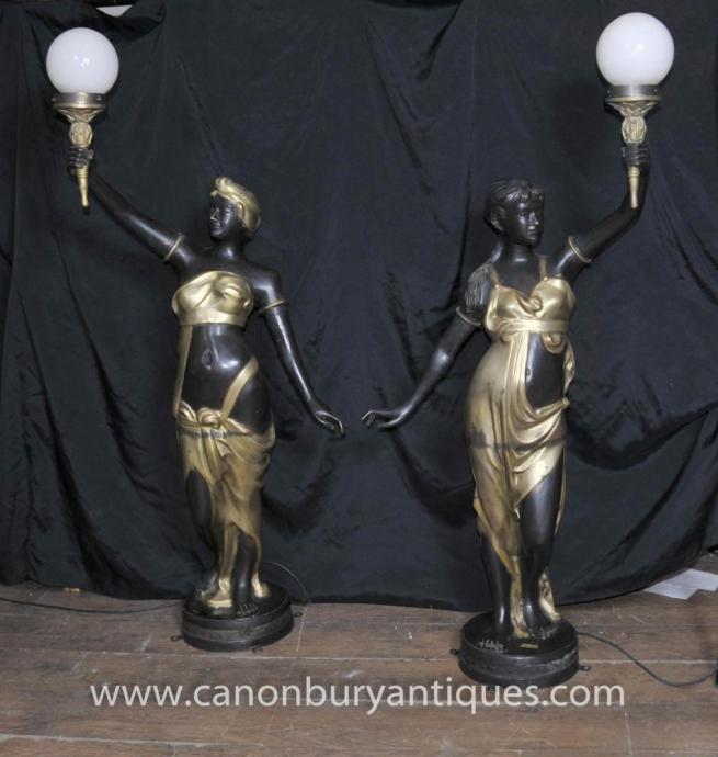 Pair French Art Nouveau Female Bronze Lamps Torcheres Figurines