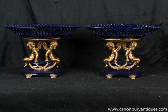 Pair French Cobalt Porcelain Cherub Dishes Tazzas Comports Bowl
