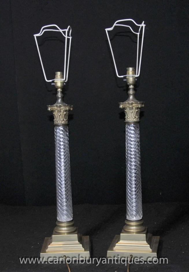 Pair French Cut Glass Doric Column Table Lamps Lights