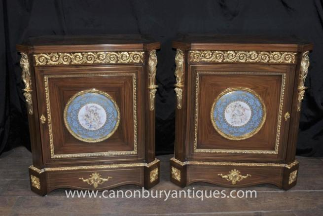 Pair French Empire Cabinets Sevres Porcelain Cherub Plaques Chests