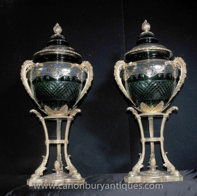 Pair French Empire Large Cut Glass Urns Vases Ormolu Stands