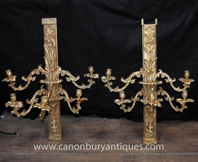Pair French Louis XV Rococo Wall Sconces Lights Appliques Ormolu