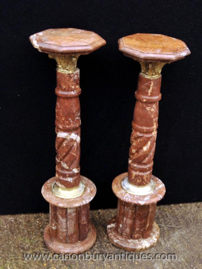 Pair French Marble Pedestal Support Columns Louis XVI Table Stands