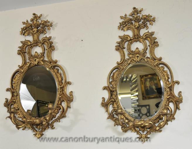 Pair French Rococo Girandole Mirrors Mirrored Candelabras Louis XVI