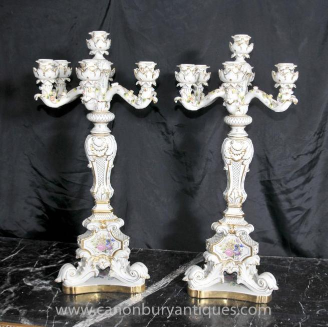 Pair German Dresden Porcelain Candelabras Candles