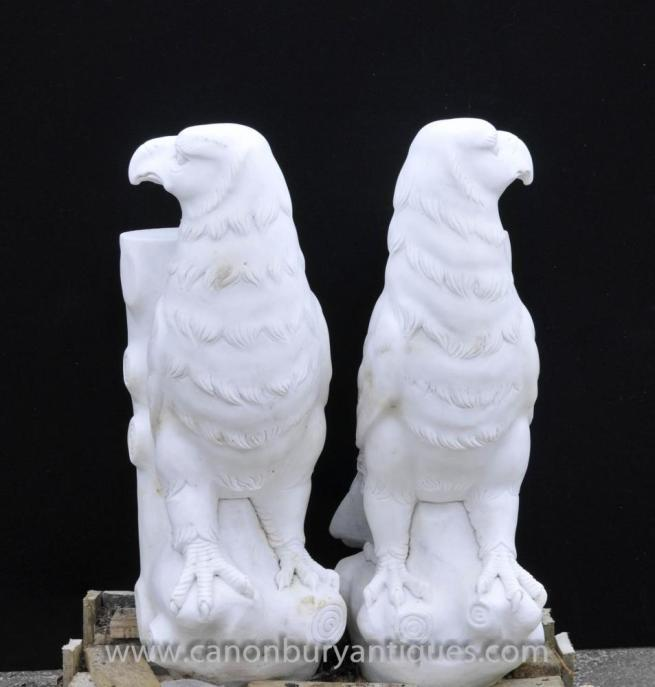 Pair Hand Carved Marble Eagle Stands Tables Italian Stone