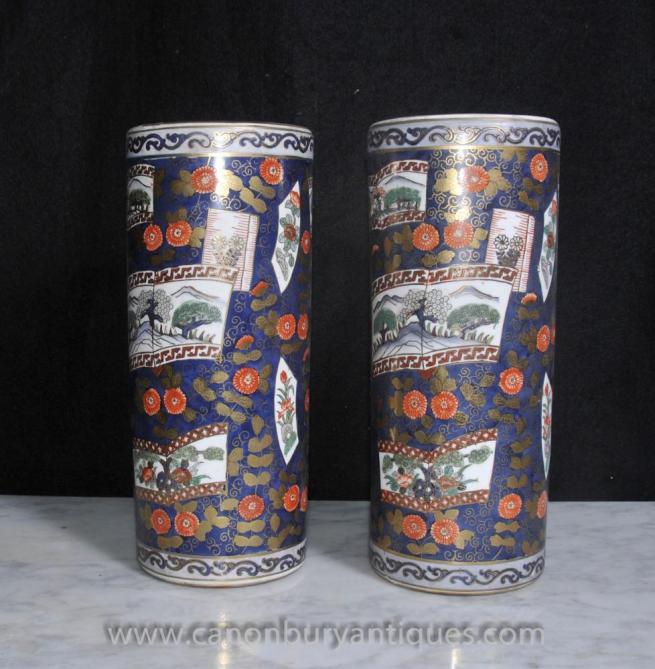Pair Japanese Satsuma Porcelain Umbrella Stands Urns Vases