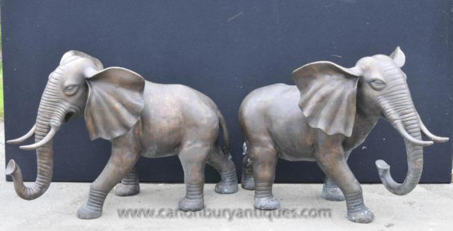 Pair Large Bronze Elephants Elephant Statue Animals Dumbo Casting
