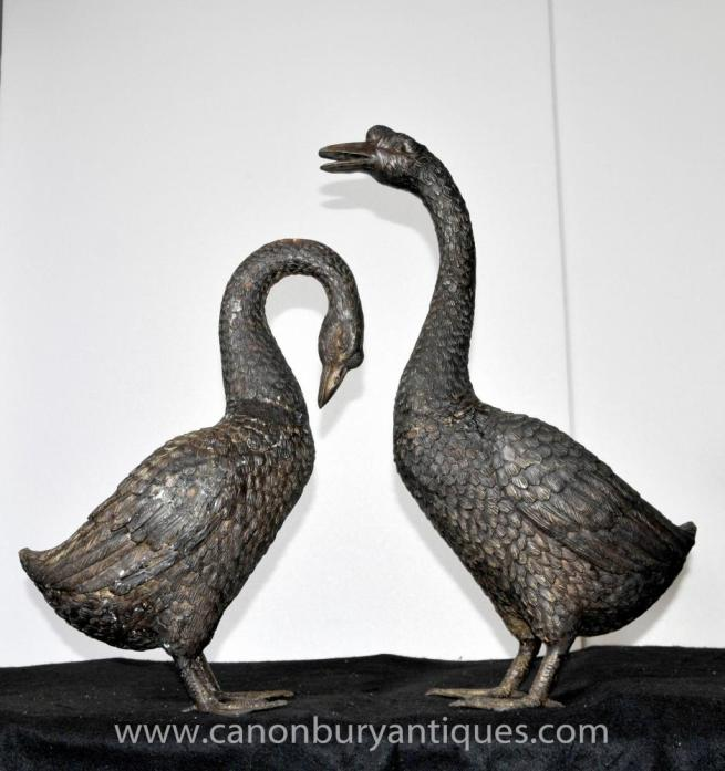 Pair Lifesize Bronze Geese Goose Birds Statue