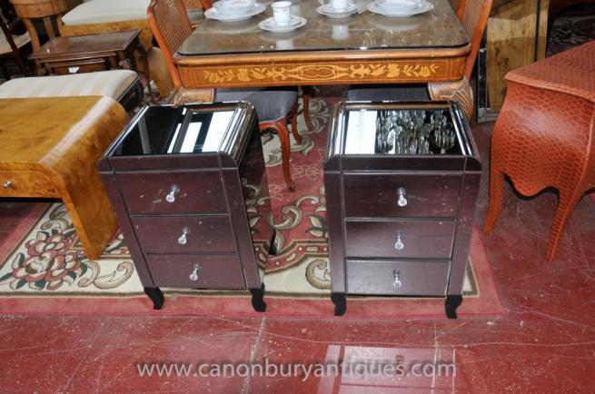 Pair Mirrored Bedside Chests Deco Nightstands Mirror Furniture