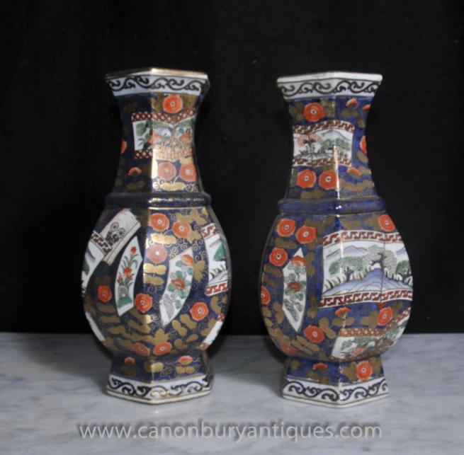 Pair Satsuma Porcelain Japanese Vases Urns Octagonal Form Pottery