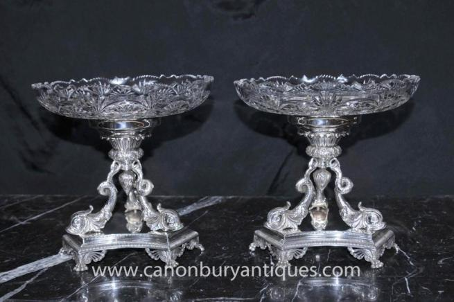 Pair Sheffield Silver Plate Dolphin Epergnes Glass Dish Tureen