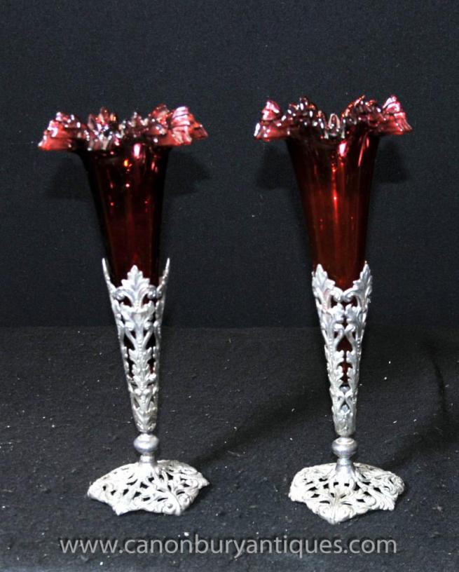 Pair Victorian Silver Plate Rose Vases Cut Glass Vase