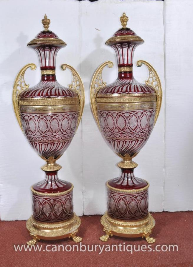 Pair XL French Empire Cut Glass Amphora Urns Architectural Vases