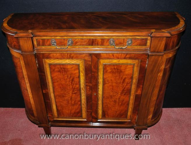 Regency Sideboard Flame Mahogany Satinwood Buffet Server Hutch