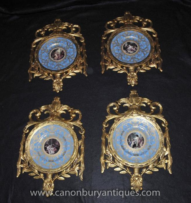 Set French Sevres Porcelain Plaques Plates Gilt Frame