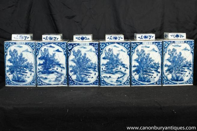 Set Ming Blue White Porcleain Tea Cannisters Urns Vases