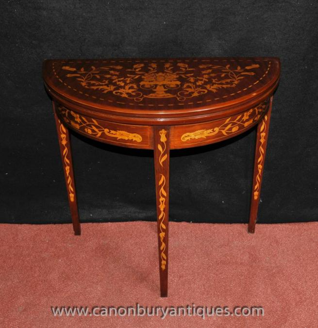 Sheraton Card Console Table Demi Lune Mahogany Inlay