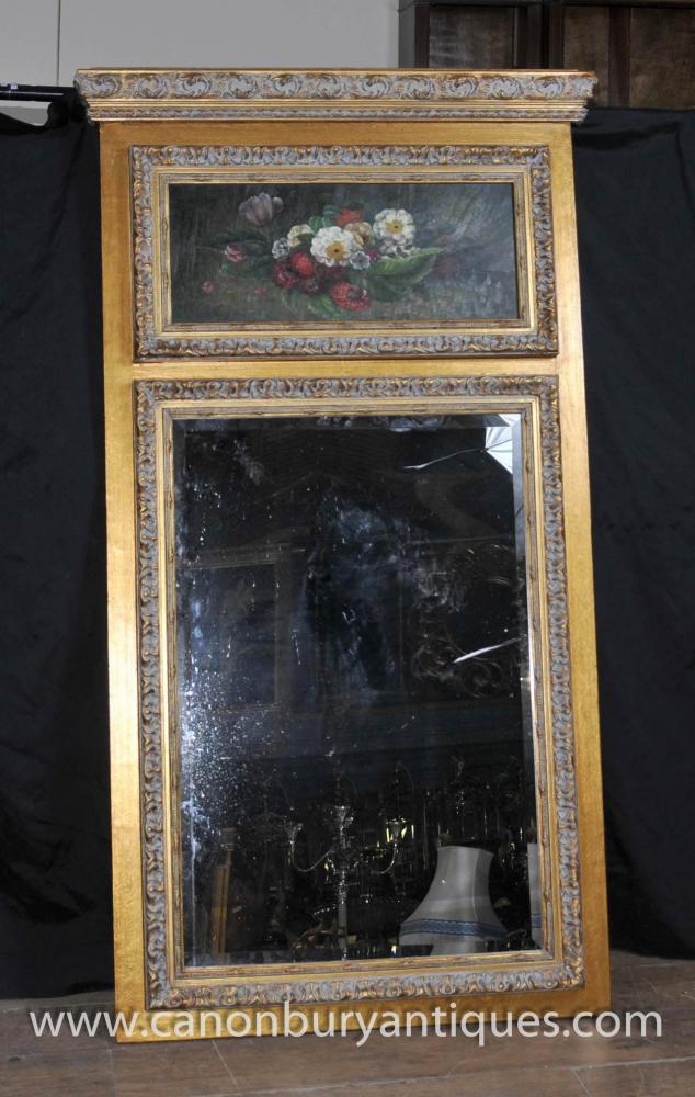 Victorian Gilt Mirror Oil Painting Floral Still Life