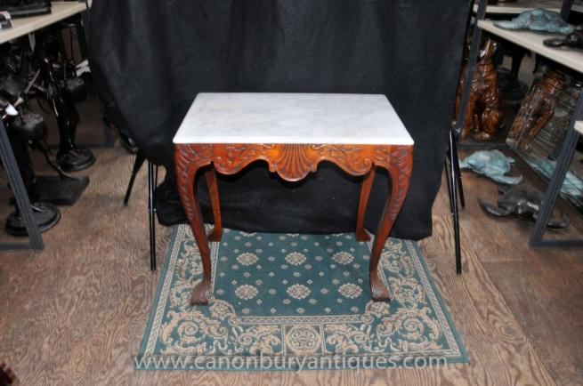 Victorian Mahogany Console Table Marble Top