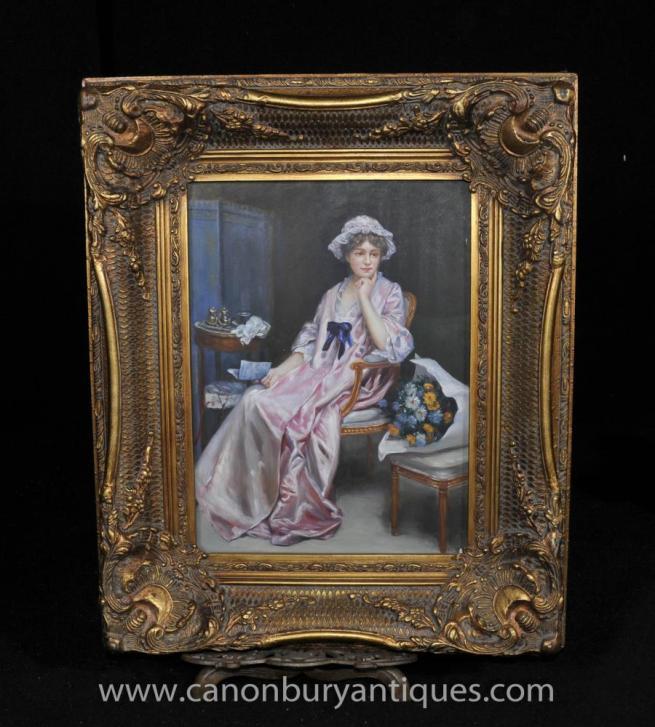 Victorian Oil Painting Lady Female Portrait Parlour Gilt Frame