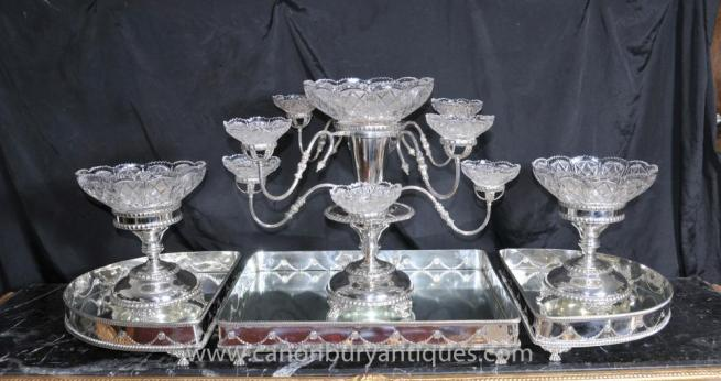 Victorian Silver Plate Centre Piece Epergne Glass Dish Dinner Set