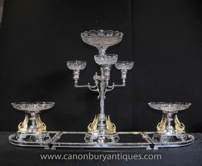 Victorian Silver Plate Epergne Centrepiece Gilt Swan Dish Bowl