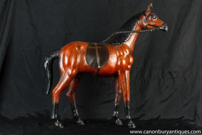 Vintage English Leather Horse Statue Horses Pony Equestrian