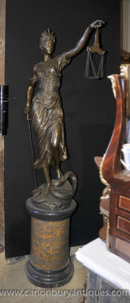 XL Lifesize French Bronze Lady Justice Scales Statue Figurine