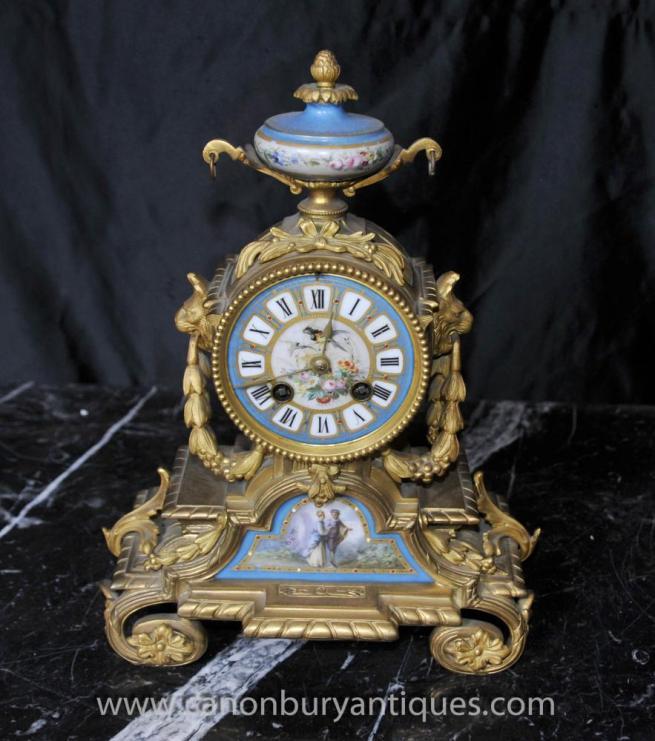 Antique Sevres and Ormolu Mantel Clock Clocks 1890