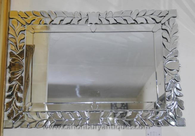 Art Deco Floral Mantle Mirror Glass Mirrors