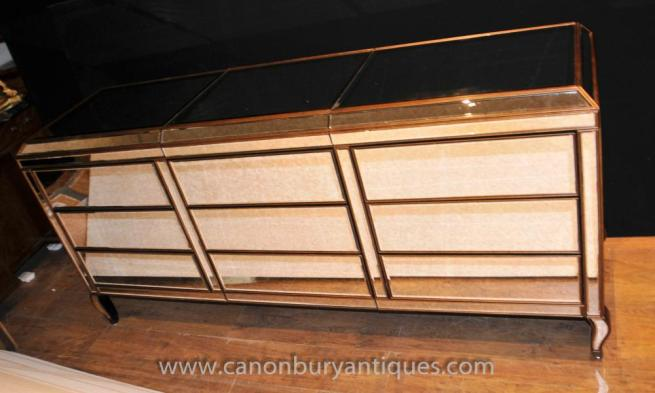 Art Deco Mirrored Chest of Drawers Triple Fronted Commode