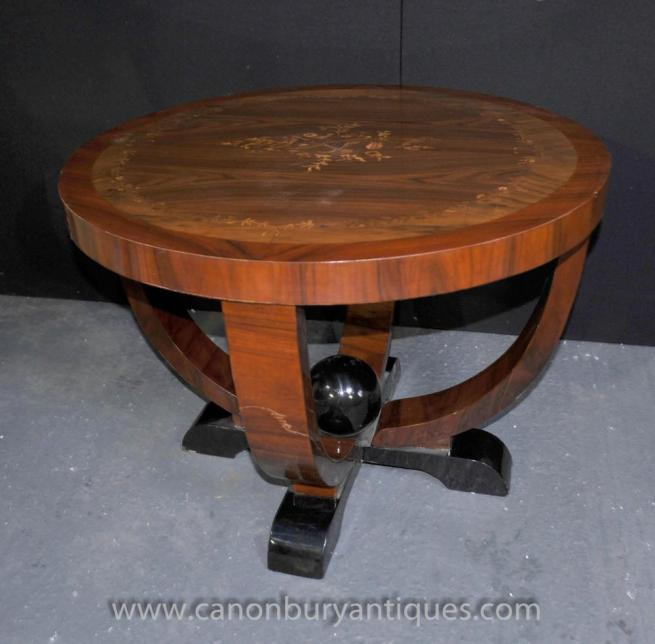 Art Deco Side Coffee Table Floral Inlay