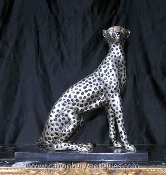 Art Deco Silver Bronze Cheetah Cat Statue Lions Feline Casting